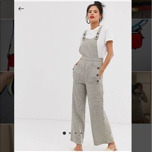 Moon River check overall jumpsuit